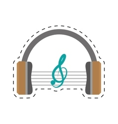 Headphones music listing audio dotted line vector