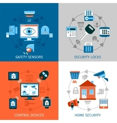 Home Safety Concept Icons Set vector
