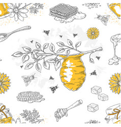 honey sketch pattern hand drawn honeycomb and vector image