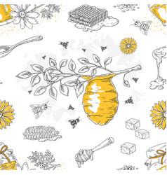 honey sketch pattern hand drawn honeycomb vector image