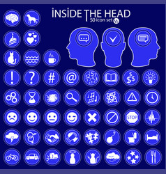 inside the heads 50 icon set vector image