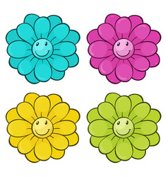 isolated set flowers vector image