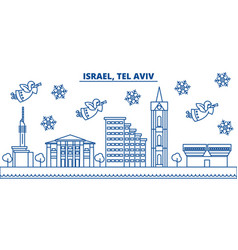 Israel tel aviv winter city skyline merry vector