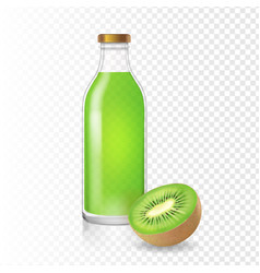 kiwi juice or smoothies in a glass bottle vector image