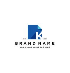 Letter k document logo design vector