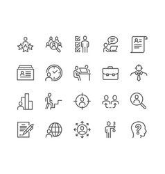 Line head hunting icons vector