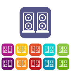 Music speakers icons set vector