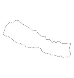 Nepal - solid black outline border map of country vector