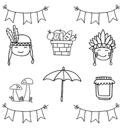 Object happy thanksgiving on doodles vector image