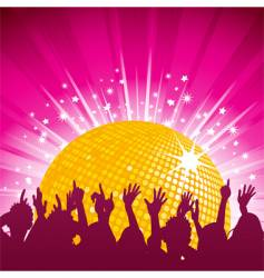 Orange disco ball and crowd vector