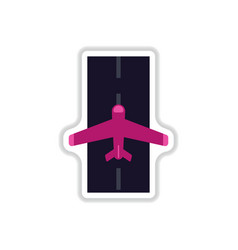 Paper sticker on white background airplane runway vector