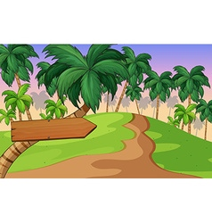 Park with wooden sign on tree vector