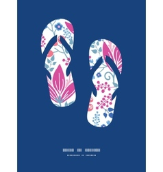 Pink flowers flip flops silhouettes pattern vector