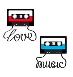 Plastic audio tape cassette with tape word love vector