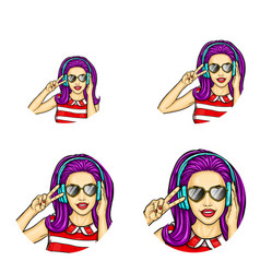 Pop art avatar icons vector