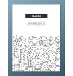 Reading - line design brochure poster template A4 vector