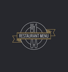 restaurant menu concept plate with fork knife vector image