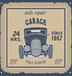 Retro garage metal sign color vintage hand-drawn vector