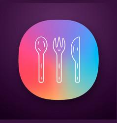 Reusable bamboo cutlery set app icon vector