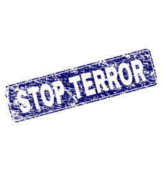 Scratched stop terror framed rounded rectangle vector