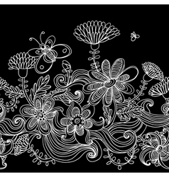 Seamless monochrome floral background vector