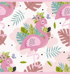 seamless pattern with beautiful pink flamingo vector image
