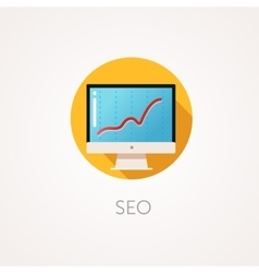 SEO result Icon Flat design style with long vector image vector image
