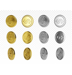 Set gold and silver coin with dollar symbol vector