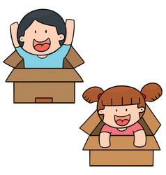 set of children in the box vector image