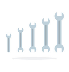 Set spanners different sizes flat isolated vector