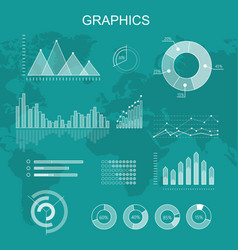 set transparent graphs and diagrams vector image