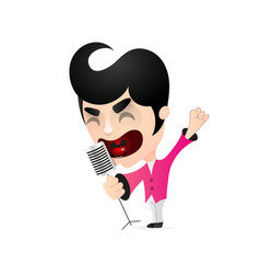 singer singing into a microphone vector image