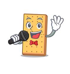 Singing graham cookies mascot cartoon vector