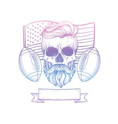 skull american football player vector image