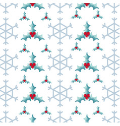 snowflake and wreath decoration background design vector image