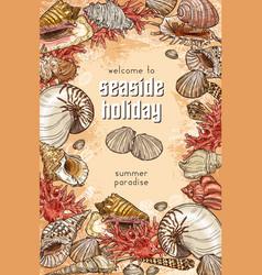 summer time seashells seaside holiday vacations vector image