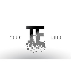 Te t e pixel letter logo with digital shattered vector