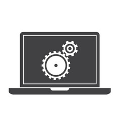 Testing software laptop silhouette vector