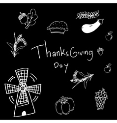 Thanksgiving on black backgrounds in doodle vector image