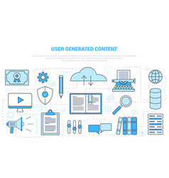Ugc user generated content concept with icon set vector