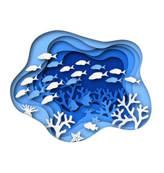 underwater sea paper cut ocean bottom reefs with vector image