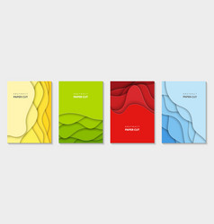 vertical flyers with colorful paper cut waves vector image