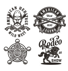 vintage wild west monochrome labels vector image