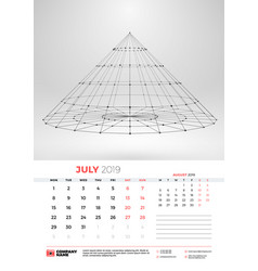 wall calendar template for july 2019 with vector image