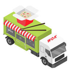 wok shop truck icon isometric style vector image