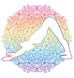 women silhouette adho mukha svanasana downward vector image