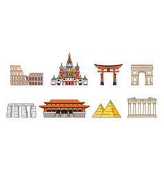 World monuments icons vector