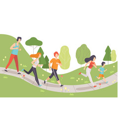 young men and women running and jogging in park vector image