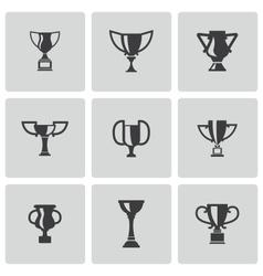 black trophy icons set vector image
