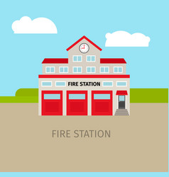 colored fire station building vector image vector image